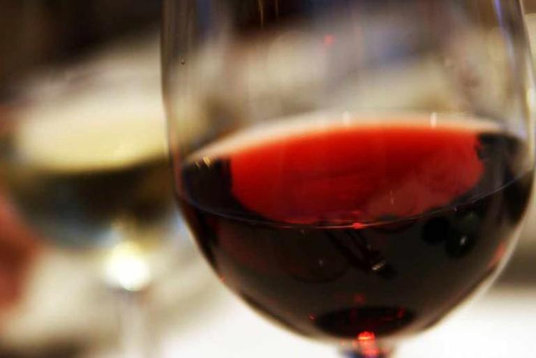 Red Wine Closeup in Glass