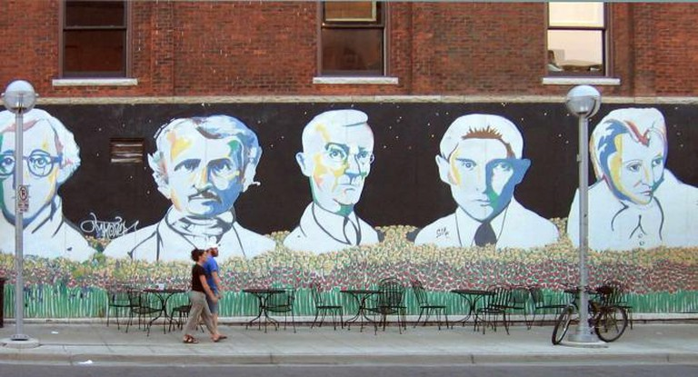 The Bookstore Mural, on the corner of Michigan's Liberty Street, depicting Hermann Hesse, center