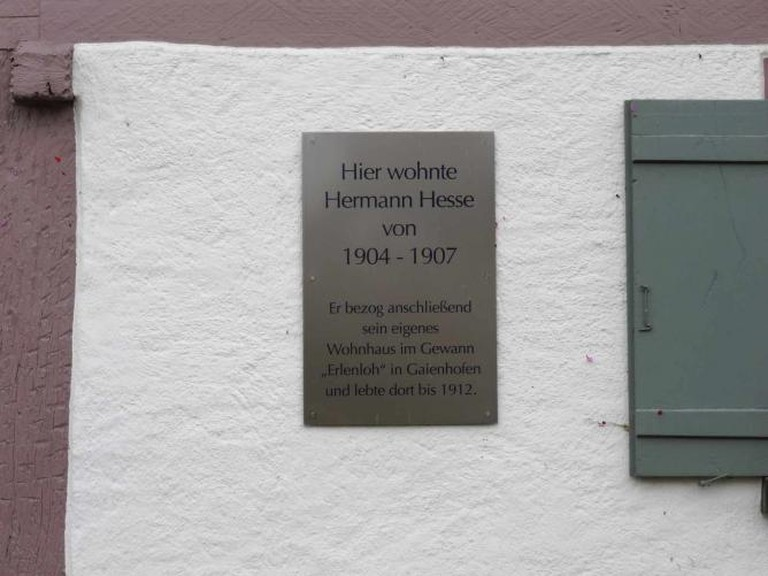 The plaque on Hesse's former home in Gaienhofen