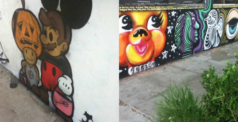 Street art: Untitled, by Trust Icon (left), Plastic Puppy, by Jennifer Korsen (right); Photo © Marie Cradle