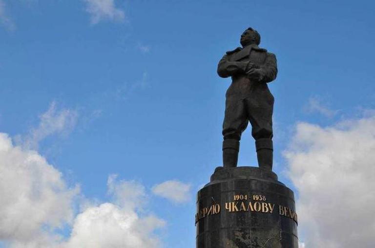 The memorial statue to Valery Chkalov by the Chkalov Staircase | Courtesy of Nathaniel Hunt