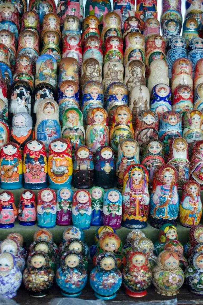 Rows upon rows of matryoshki dolls at Moscow's Izmailovsky Market | Courtesy of Stefan Hunt