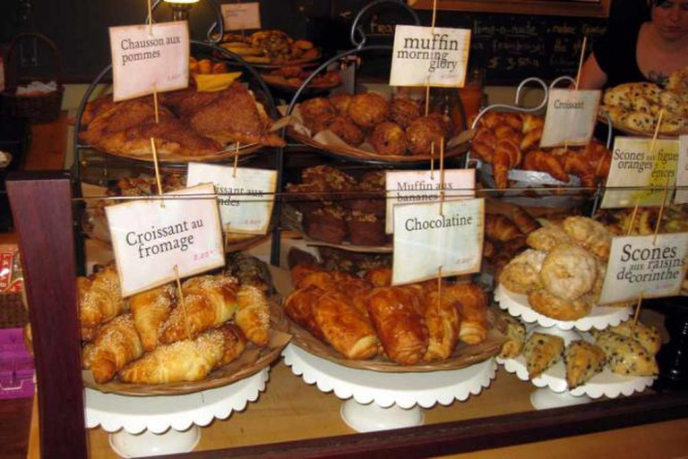 Display of baked pastries at Olive and Gourmando Bakery, Montreal