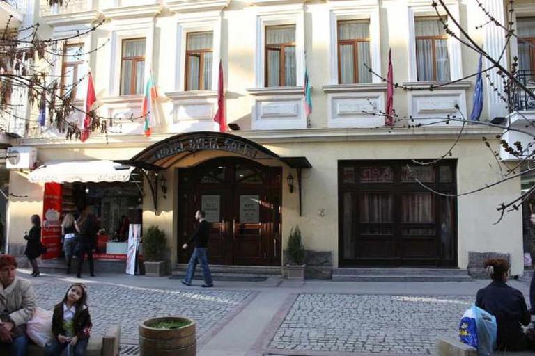 The front entrance on the cobbled Pirotska Street