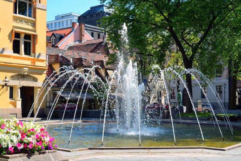 Bank Square outside Engebret Cafe