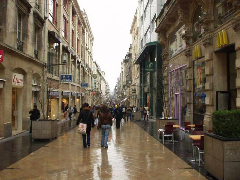 Rue Sainte-Catherine on a rainy day