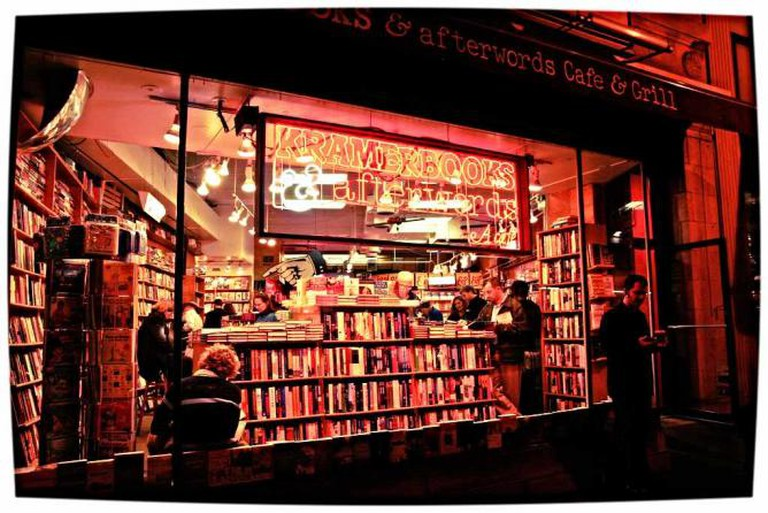 The outside view of Kramersbooks in Washington DC on a crowded evening.