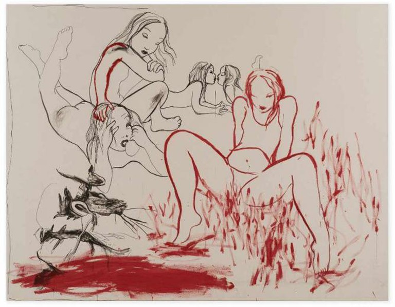 Rita Ackermann, Heroines 2, 2014, Ink, pigment on canvas, 230 x 295.3 x 3 cm / 90 1/2 x 116 1/4 x 1 1/8 in | Photo by Jon Etter/Courtesy Hauser & Wirth