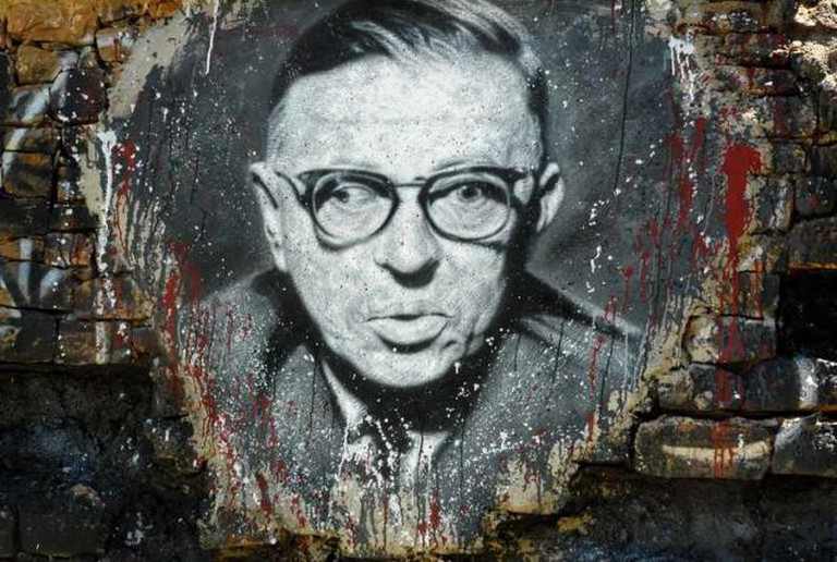 A portrait of Jean-Paul Sartre