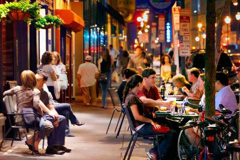 Diners sit al fresco at Lolita on S 13th St in Midtown Village, Philadelphia.