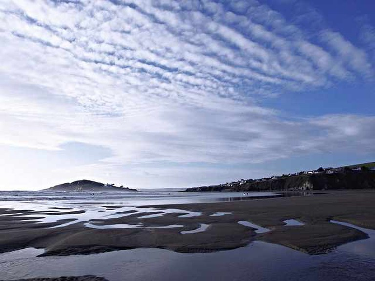 Bantham Beach on the South Devon coast, England. In distance is Burgh Island and, to the right, Bigbury.