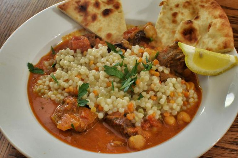 Moroccan lamb stew with pearl couscous
