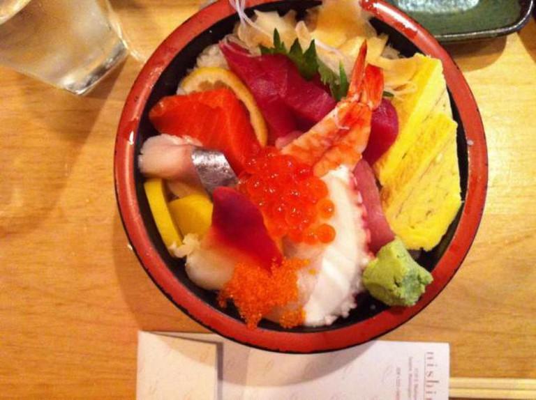 Chirashi or 'scattered' sushi at Nishino