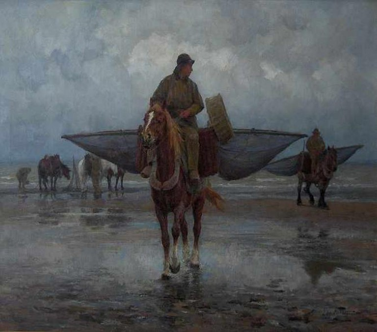 """Horse fishermen on the beach"", painting by Edgard Farasijn 
