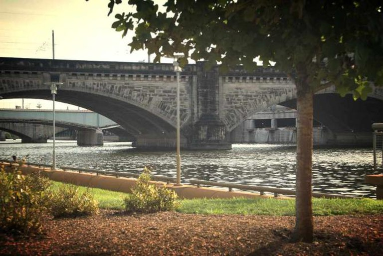 A view of the Schuylkill River from the park's Schuylkill River running trail.