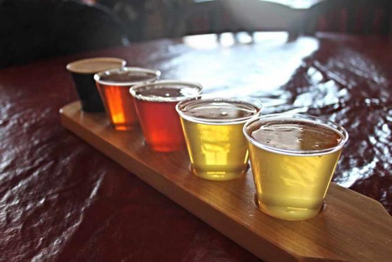 Beer flight at Lakefront Brewery