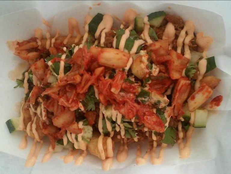 Funky Monkey Munchies' kimchi masa-potato fries | Courtesy Funky Monkey Munchies