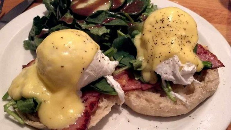 A shot of the Eggs Benedict.