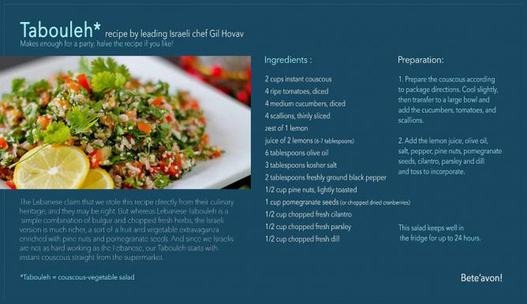 Tabouleh salad recipe by Gil Hovav | Courtesy of the World Jewish Heritage