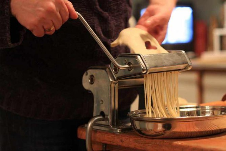 Pasta machine in use