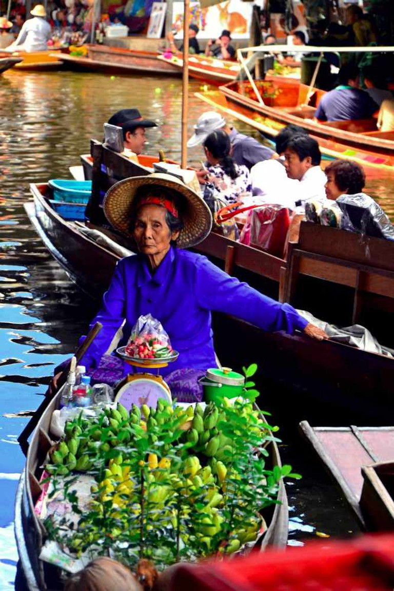 Fruit vendor at one of Bangkok's floating markets