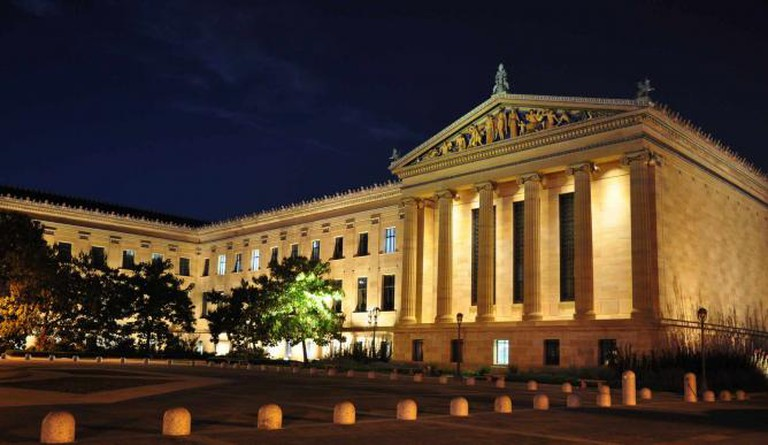A view from the front of the Philadelphia Museum of Art at nighttime.