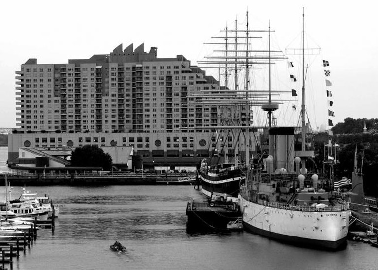 A view of the Marina at Penn's Landing on the Delaware River.