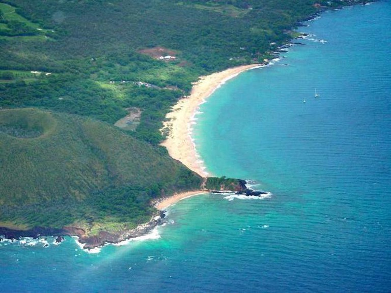 Aerial photo of the Big and Little Beach in Makena State Park