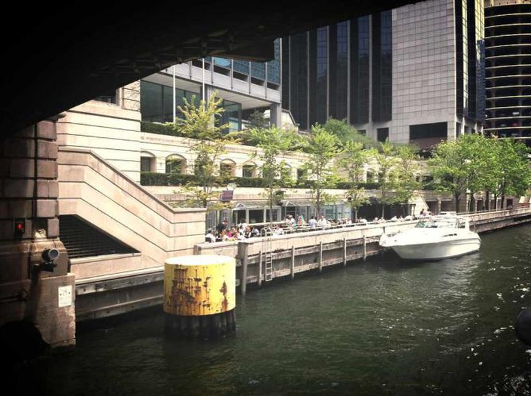 A view of the Bridge House Tavern's patio on the Chicago River.