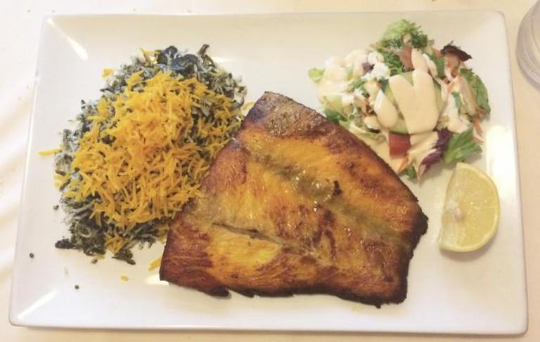 Caspian's Sabzi Polo Ba Mahi (Fish served with rice)