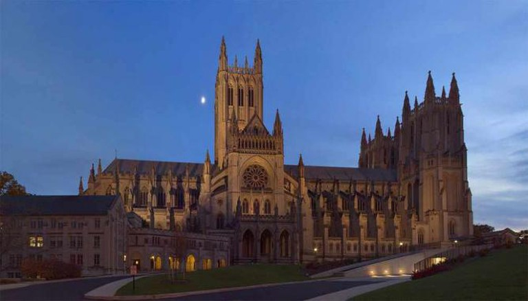 Washington National Cathedral at twilight, view from the north