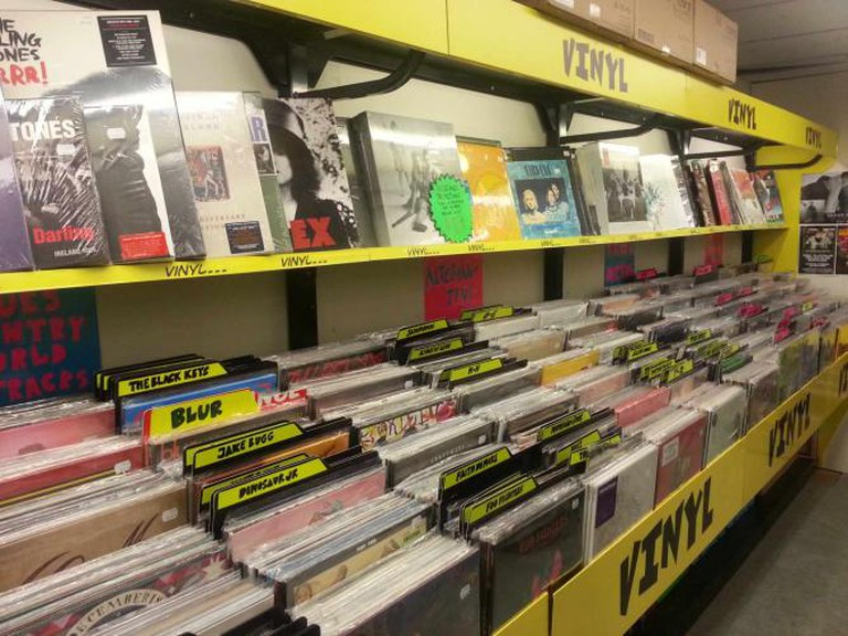 A collection of vinyl at JB Hi-Fi Bourke Street