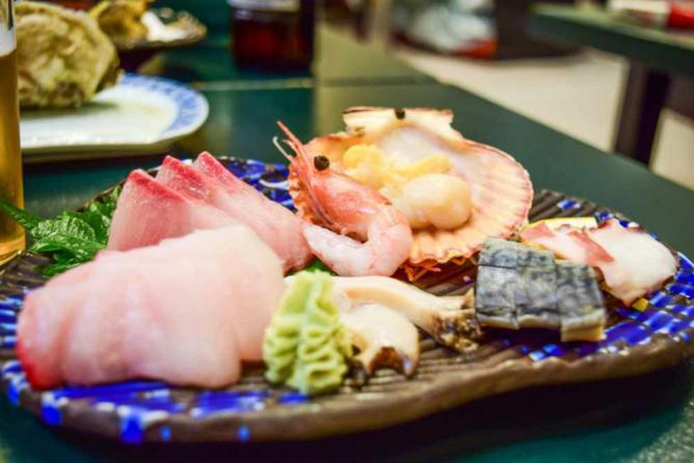 A platter of Oki's finest, freshest seafood.