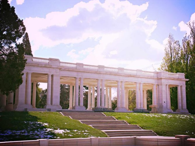 A view of the Neoclassical pavilion in Cheesman Park.