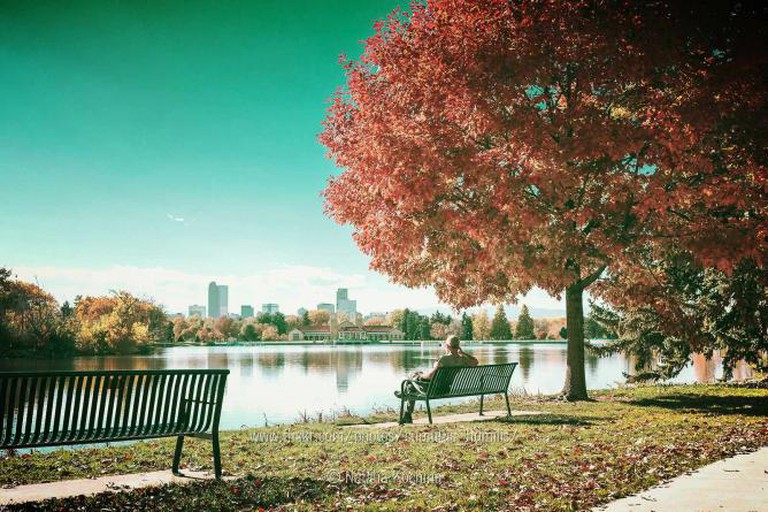 The view of the lake at City Park with the Denver skyline in the background.