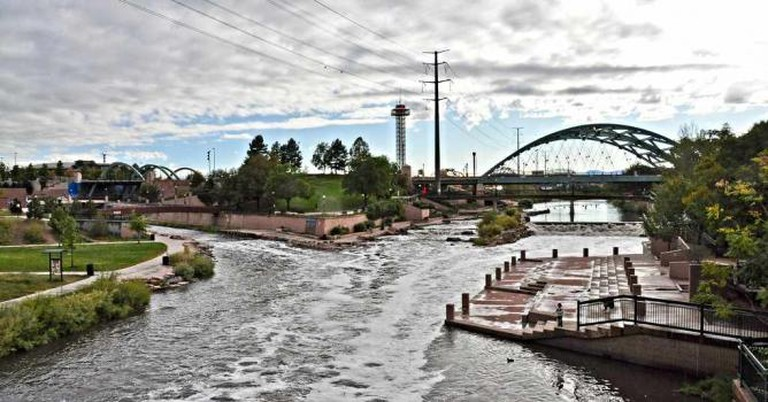 The rapids at Confluence Park in downtown Denver, Colorado.