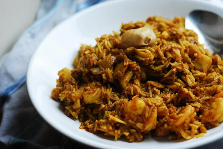 Curried seafood rice