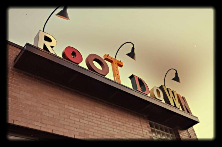 The exterior of Root Down vegetarian restaurant in Denver.