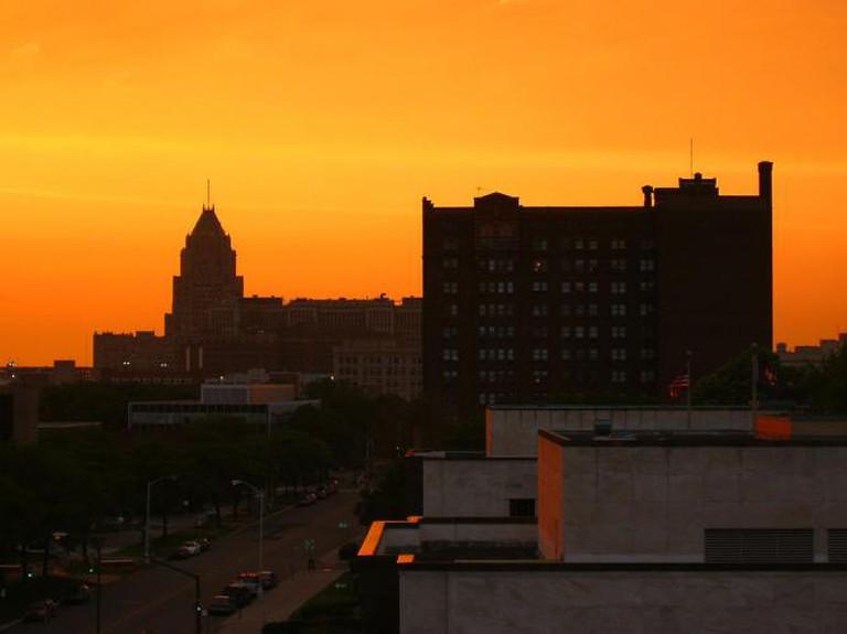 Midtown Detroit sunset
