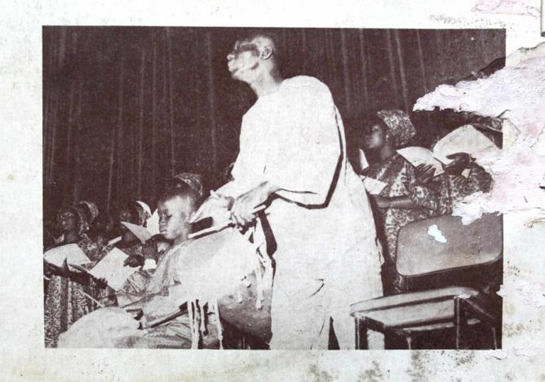 Doudou N'diaye Coumba Rose during a performance with the Chorale Saint Joseph de Medina de Dakar (Directed by Julien Jouga) at the National Theatre. Dakar, 26th of May, 1972.
