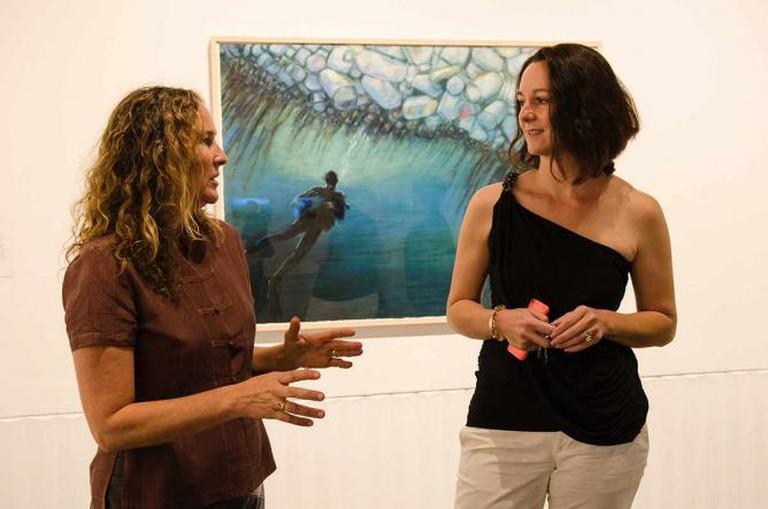 Artist Dianna Cohen and Fisher Museum curator Ariadni Liokatis