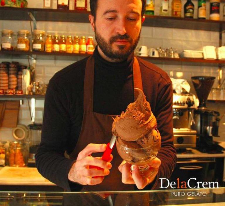 Massimo serving chocolate gelato