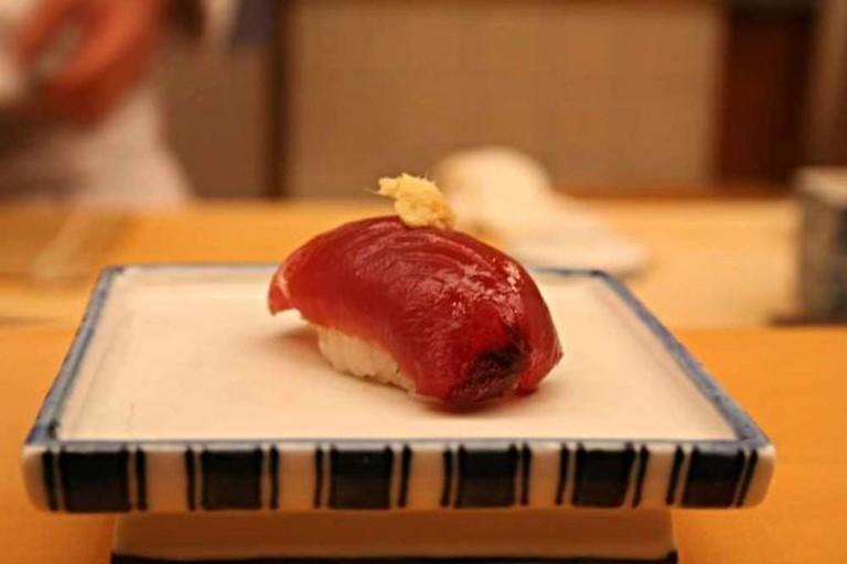 Sushi with grounded fresh ginger.