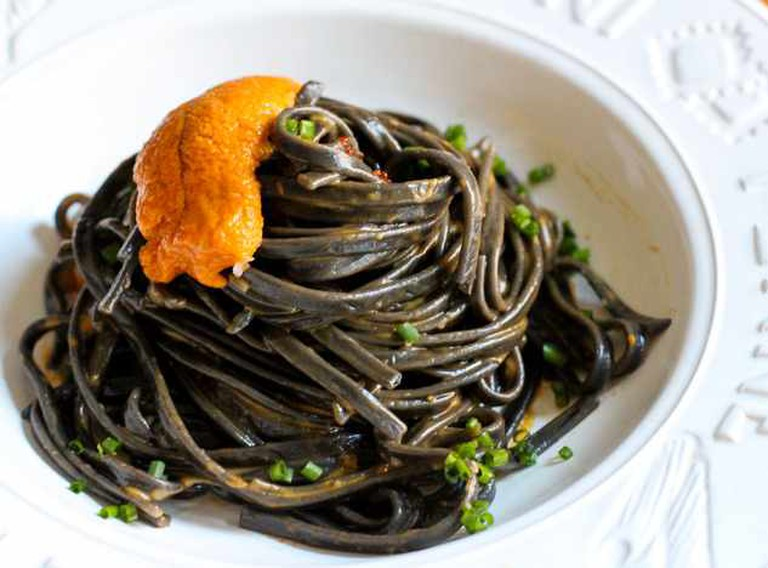 Squid ink spaghetti with sea urchin roe © Brooke Conroy Bass