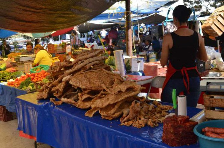 Pile of chicharrones at El Tianguis de los Martes /