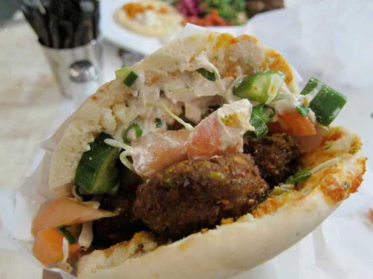 Falafel served in a sandwich
