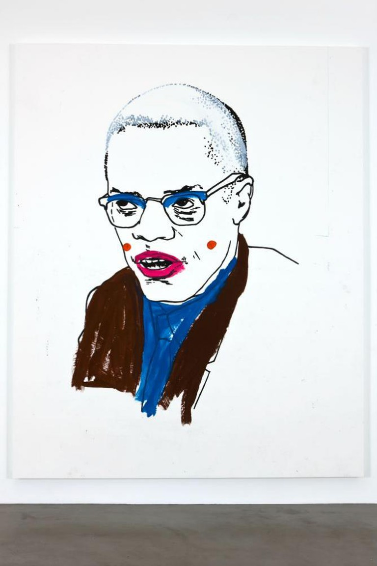 Glenn Ligon, 'Untitled (Malcolm X)', 2008, Pencil, acrylic and flashe on paper mounted on panel, framed 132 x 107 x 3 inches (335.28 x 271.78 x 7.62 cm) | © Glenn Ligon; Courtesy of the artist, Luhring Augustine, New York, Regen Projects, Los Angeles, and Thomas Dane Gallery, London