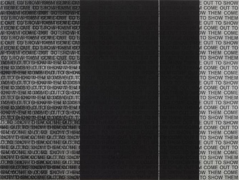 Glenn Ligon, 'Come Out Study #16', 2014. Silkscreen on canvas on panel 36 x 47 3/4 inches (91.4 x 121.3 cm)   © Glenn Ligon; Courtesy of the artist, Luhring Augustine, New York, Regen Projects, Los Angeles, and Thomas Dane Gallery, London