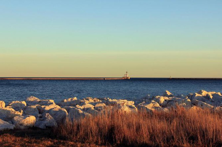 View of lighthouse and Lake Michigan
