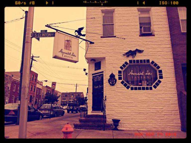 The exterior of the Annabel Lee bar in Baltimore that is known for its Edgar Allen Poe themed cocktails.